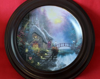"""Framed Collectors Plate """"Falbrooke Cottage"""" by Thomas Kinkade with COA"""