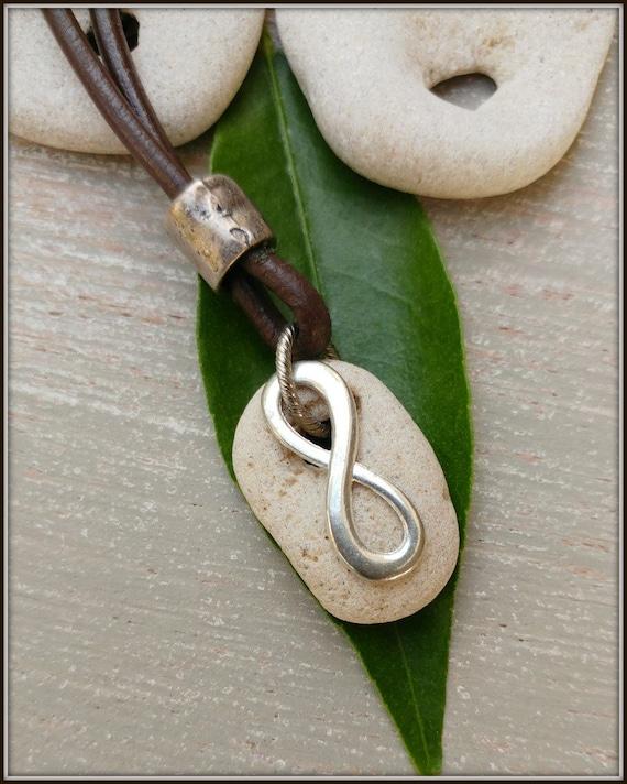 Men Infinity Necklace,Hag Stone Necklace, Infinity Stone Necklace, Mens Infinity Pendant, Mens Stone Pendant, Men Infinity Jewelry