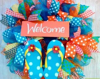 Flip Flop Wreath, Spring Welcome Wreath, Summer Flip Flop Wreath, Welcome Wreath, Spring Deco Mesh Wreath, Polka Dot Wreath, Summer Wreath