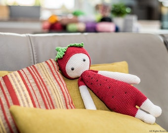 Red Lalylala ERNA -  Strawberry with black spots - Strawberry toy - Lalylala pattern - Home decor - Gift for girl - Girls room decor -