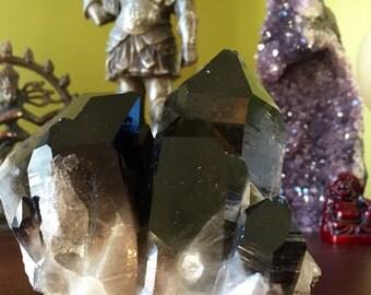 Sparkling Smokey Quartz point cluster geode specimen E160600