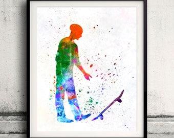 Man skateboard 09 in watercolor - poster watercolor wall art splatter sport illustration print Glicée artistic - SKU 2045