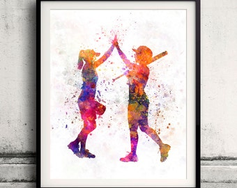 Women playing softball 01 - 8x10 in. to 12x16 in. poster watercolor wall art splatter sport illustration print Glicée artistic - SKU 1297