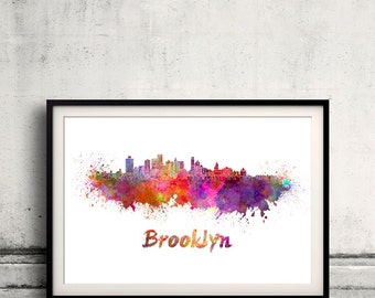 Brooklyn skyline in watercolor over white background with name of city - Poster Wall art Illustration Print - SKU 1510