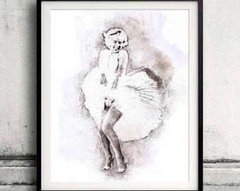 Marilyn Monroe portrait 03 in pen & watercolor - Fine Art Print Glicee Poster Gift Illustration Artist Poster - SKU 1947
