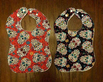 Red and Black Sugar Skulls Baby Bib Bundle -- Adjustable Snaps Grow with Your Child 0-24 Months