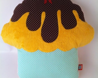 Big cupcake pillow, stuffed toy, pillow cuddle huggable necessary soothing stuff for kids, kitchen edition