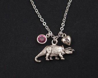dinosaur necklace, initial necklace, birthstone necklace, silver dinosaur charm, birthday present, paleontology, jurassic, dino pendant