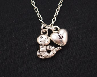 tiny worm necklace, initial necklace, silver worm charm, book worm necklace, fun necklace, animal jewelry, caterpillar charm, gift for her