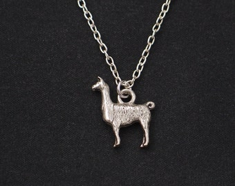 Llama necklace, sterling silver filled, silver llama charm, llama gift, Lama Glama, alpaca necklace, llama jewelry, Christmas gift, birthday