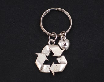 recycle symbol keychain, initial keychain, silver recycle symbol charm keyring, recycling key chain, save Mother Earth, eco friendly gift