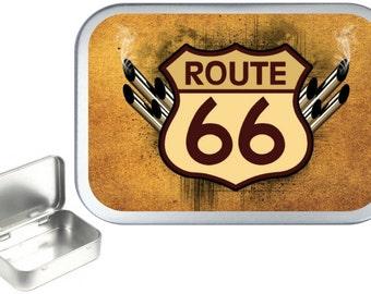 Route 66 1oz silver hinged tobacco tin,pill box,storage tin