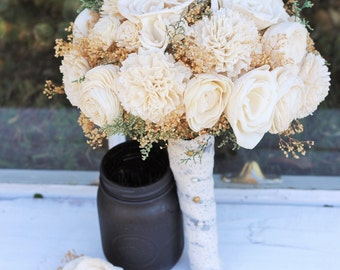 Wedding Bouquet, Winter Bouquet, Fall Bouquet, Spring Bouquet, Sola Bouquet, Rustic Wedding, Alternative Bouquet