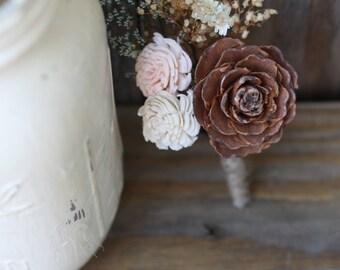 Cedar Rose boutonniere, cedar rose buttonhole, sola flower, groom, groomsmen, groom boutonniere