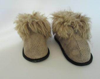 Children slippers, children leather slippers