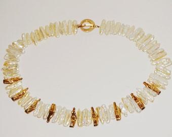 "Vintage Sterling RARE Stick Biwa Fresh Water Pearl 18"" Necklace."