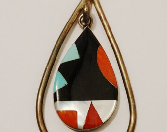 Navajo Zuni Signed Sterling Silver Large Pendant.