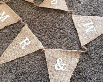 Barn wedding burlap banner mr and mrs decorative hanging party supplies jute flag Rustic Hessian Burlap Bunting Shabby Chic Wedding 6 Flags