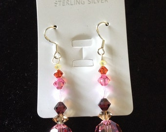 Swarovski crystal 925 sterling silver earrings