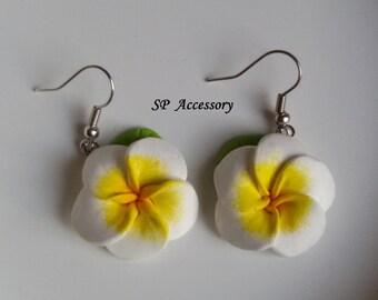 Plumeria Earrings, clay dangle earrings, flower clay