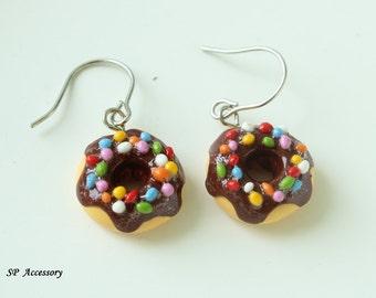 Doughnut Earrings, earrings clay, lovely earring, dangle earring, lovely donut, jewelry earrings, clay earrings