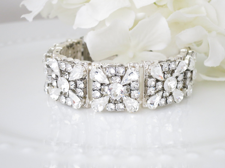 Swarovski rhinestone bridal bracelet, Art Deco cuff bracelet, Vintage wedding bracelet,