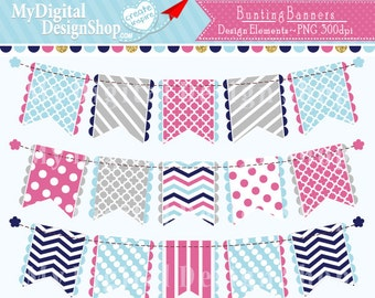 50% OFF SALE, Pink Blue Bunting Banner Clip Art Clip art Set Patterned Flag Clipart Polka Dot Chevron Personal & Commercial Download |C076