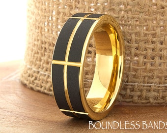 Yellow Gold Tungsten Ring Wedding Band Promise Ring Tungsten 7mm Mans Band Two Tone Yellow Gold And Black Ring Flat Slanted Comfort Fit Band