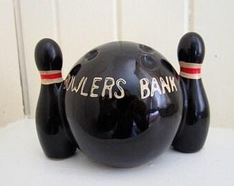 1960 Vintage Black Ceramic Bowlers Bank/Bowling Ball Saving Bank