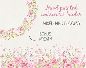 Floral border in watercolors: hand painted mixed pink blooms; watercolor clip art; wedding clip art - instant download