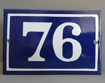 Old French enamel house number SIGN . Door street address gate PLATE PLAQUE Enamel steel metal 76 Blue