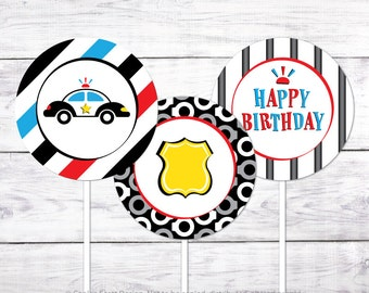 "Police Party 2"" Cupcake Toppers (Printable Cupcake Toppers)"