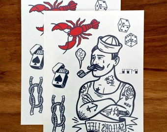 Temporary tattoos - So Long, Sailor set // nautical tattoo // Fake tattoo