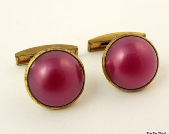 Vintage 1940s Cufflinks Pink Cabochon Round Gold Tone