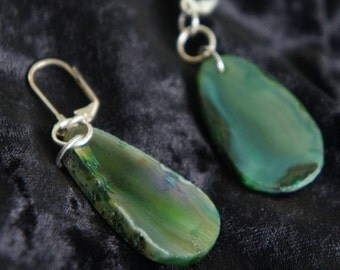 Unique Handmade Green Natureal Agate Earrings