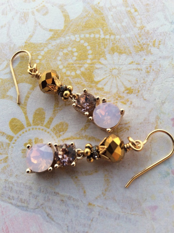 Clarity...Fancy Dangle Earrings, Formal, Bling, Wedding, Bridal, Pink, Gold, Glam, Anniversary, For Her, JustSlightlyVintage