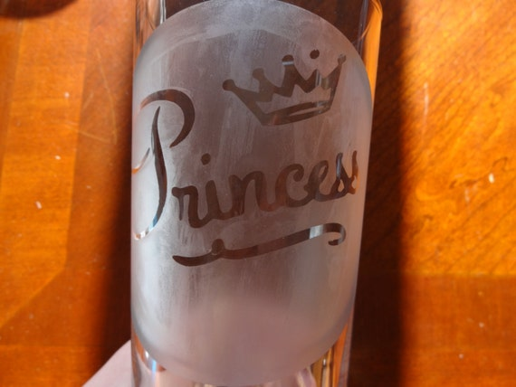 "Glass etched ""Princess""  tumbler with Tiara/crown etched - Birthday - Wedding"