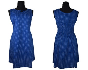 Blue Cotton Dress with white dots