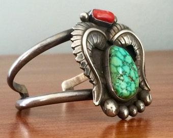 Vintage Navajo Jimmy Yazzie Sterling Silver Cuff Bracelet - Navajo Cuff Bracelets, Navajo Sterling Silver Turquoise Coral Cuff Bracelet
