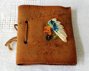 1940's Vintage Sewing Needle Book - Leather Cover with Painted Indian Head -