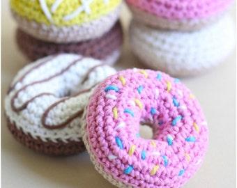 Crochet Amigurumi Playfood Donuts Set of 6 Soft Toy Plush