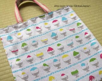 Handmade, Japanese snow cone white tote bag, 13in x 12.6in (33cm x 32cm) , tenugui, inside black color
