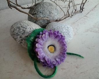 "Felt flower, brooch ""Lilac Gerbera"", Floral design"