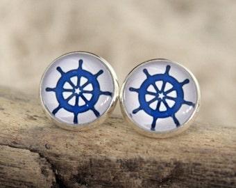 """Ear studs """"steering wheel"""", blue"""
