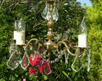 FIVE branch FRENCH CRYSTAL chandelier