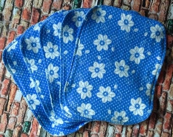 Blue and White Flower Flannel Cloth Wipes, Reusable Wipes