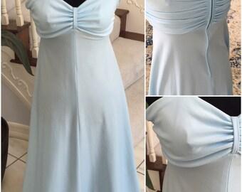 SALE Vintage 1970 Baby Blue Long Dress  Medium