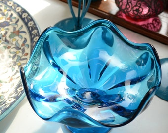 vintage blue art glass compote or footed candy dish