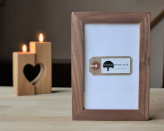 4x6 Walnut frame - Solid wooden picture frame - for photos 4x6 custom wood photo frames
