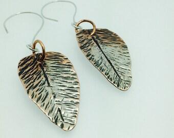 Leaf earrings fold formed copper & sterling silver